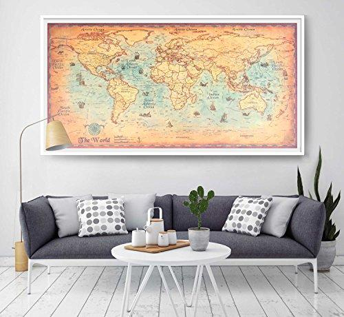 Large vintage world map kraft paper paint retro navigation ancient large vintage world map kraft paper paint retro navigation ancient sailing map wall poster living room gumiabroncs Images
