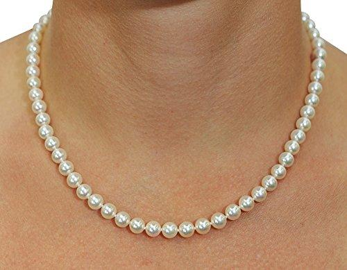 14K Gold 6.0-6.5mm White Freshwater Cultured Pearl Necklace - AAAA Quality, 16 Inch Choker Length