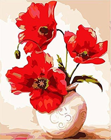 [ New Release ] Diy Oil Painting by Numbers, Paint by Number Kits - Vase with Red Flower 16*20 inches - Digital Oil Painting Canvas Wall Art Artwork Landscape Paintings for Home Living Room Office Christmas Decor Decorations Gifts - Diy Paint by Numbers D