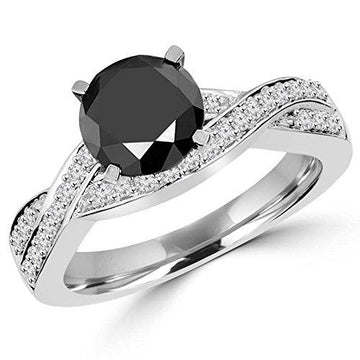 1 3/4 CTW Round Black and White Diamond Infinity Engagement Ring in 14K White Gold (MD150031)