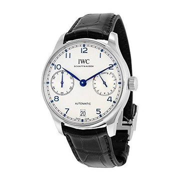 IWC Men's 42mm Black Alligator Leather Band Steel Case Automatic Silver-Tone Dial Analog Watch IW500705