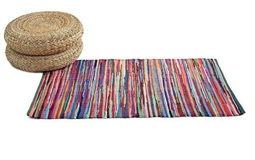 Hand Made Rug - Unique Chindi Recycled Fabric Handloom Rugs made from Recycled Fabrics for Hallways, Living Room, Kids Bedroom Mats or Kitchen (70 x 140 cm)