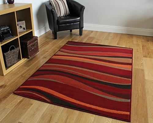 The Rug House Modern Waves Rugs, Warm Red/Brown/Burnt Orange, 160 x 23
