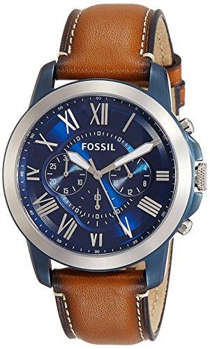 Fossil Mens Blue Chronograph Dial Brown Leather Strap FS5151