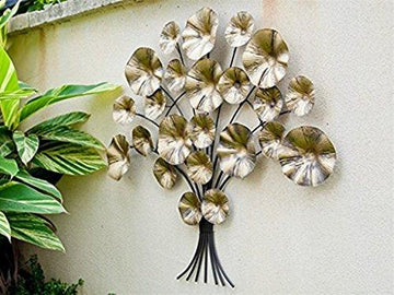 Dipamkar® Metal Wall Art Garden Wall Art Gold Flower Metal Sculpture/Statues Home Garden Decoration 87 x74cm