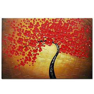 Wieco Art - Red Flowers Modern Stretched and Framed Floral 100% Hand Painted Oil Paintings Artwork on Canvas Wall Art Ready to Hang for Living Room Bedroom Home Decorations