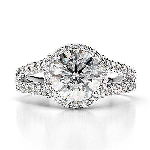 G-H/VS 1/2 Ct Round Cut Certified Diamond Engagement Ring in Platinum 950 AGDR-1220