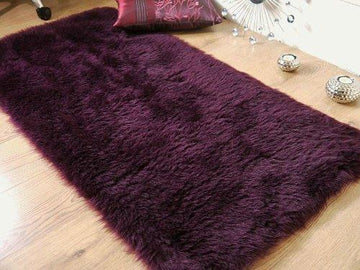 Plum aubergine purple faux fur sheepskin oblong rug 70 x 140 cm