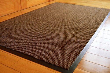 MEDIUM EXTRA LARGE LONG NARROW BROWN / BLACK HEAVY DUTY STRONG NON SLIP HEAVY DUTY RUG BARRIER MAT DOOR OFFICE KITCHEN UTILITY CARPET (90 X 150 CMS)