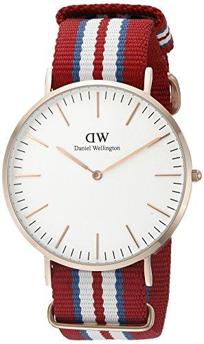 Daniel Wellington Exeter Rose Men's Quartz Watch with White Dial Analogue Display and Multicolour Nylon Strap 0112DW
