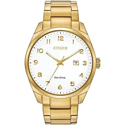 Citizen Watch Wr100 Men's Solar Powered Watch with White Dial Analogue Display and Gold Stainless Steel Bracelet Bm7322-81B