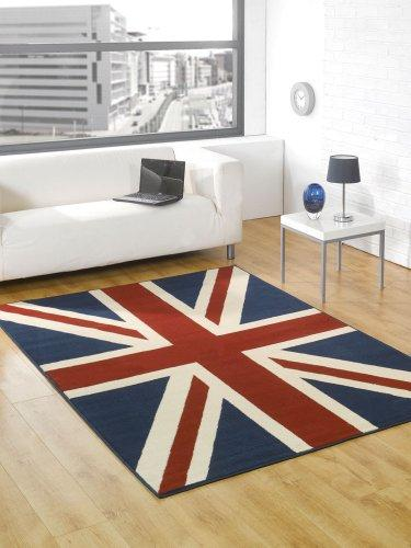 Buckingham Great Britain Flag Union Jack Design Blue Red White Rug 120 x 160 cm (4' x 5'3