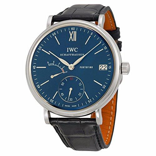 IWC Men's 45mm Black Leather Band Steel Case Sapphire Crystal Automatic Blue Dial Analog Watch IW510106