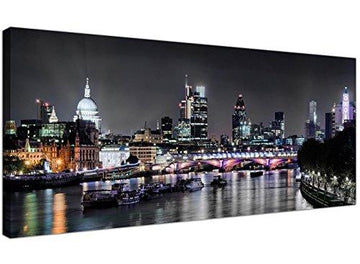 Modern Black and White Canvas Prints of London at Night - 1211 - Wallfillers