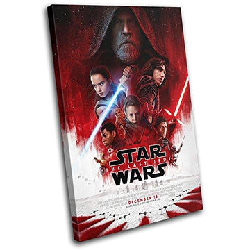 Bold Bloc Design - Star Wars Last Jedi Poster Gaming 45x30cm SINGLE Canvas Art Print Box Framed Picture Wall Hanging - Hand Made In The UK - Framed And Ready To Hang