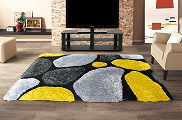 LARGE YELLOW GREY CHARCOAL 3D PEBBLE STEPPING STONES TEXTURED DEEP PILE 60cms x 120cms SHAGGY SNUG RUG