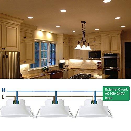 14W Recessed LED Downlights Kitchen Bathroom LED Recessed Ceiling Lighting Warm White 3000K Cut Φ120MM AC100~240V IP44 Dampproof 3 Pack by Enuotek