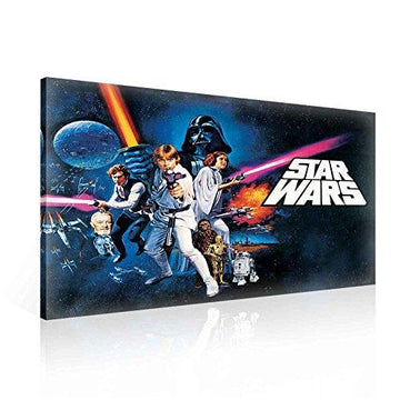 Star Wars New Hope Canvas Print - Photo Print - O1 - 100cm x 75cm - Premium 260gsm Canvas, Hand-Finished, Solid MDF Frame - 2.6cm Thick - Integrated Hanging Hook - Star Wars Collection - (PPD729O1)