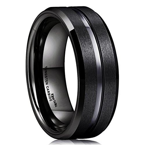 King Will CLASSIC Men Black Tungsten Carbide 8mm Polished Matte Brushed Finish Center Wedding Band RingR1/2