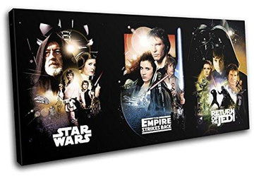 Bold Bloc Design - Star Wars Vintage Movie Greats 80x40cm SINGLE Canvas Art Print Box Framed Picture Wall Hanging - Hand Made In The UK - Framed And Ready To Hang
