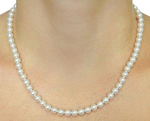 14K Gold 5.5-6.0mm Japanese Akoya White Cultured Pearl Necklace - AAA Quality, 17