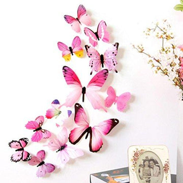 Wall Stickers ,Diadia 12pcs 3D Butterfly Removable Mural Stickers Wall Stickers Decal Wall Decor Home Decor Kids Room Bedroom Decor Living Room Decor for Christmas, Wedding,Birthday, Anniversary, Engagement (Pink,Multicolor) (A)