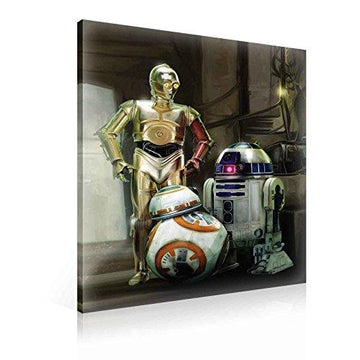 Star Wars Force Awakens R2D2 C3PO BB8 Canvas Print - Photo Print - O1 - 100cm x 75cm - Premium 260gsm Canvas, Hand-Finished, Solid MDF Frame - 2.6cm Thick - Integrated Hanging Hook - Star Wars Collection - (PPD1934O1)