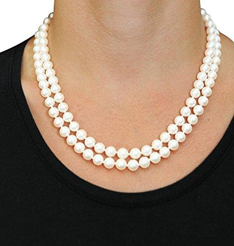 "6.5-7.0mm White Freshwater Double Strand Cultured Pearl Necklace, 16-17"" Length"