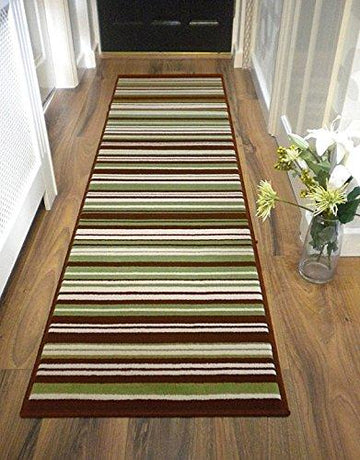 LONG MODERN TRADITIONAL STRIPED SHAGGY HALLWAY HALL RUNNER RUG IN MULTI COLOURS (60 x 220 cm (2' x 7'4
