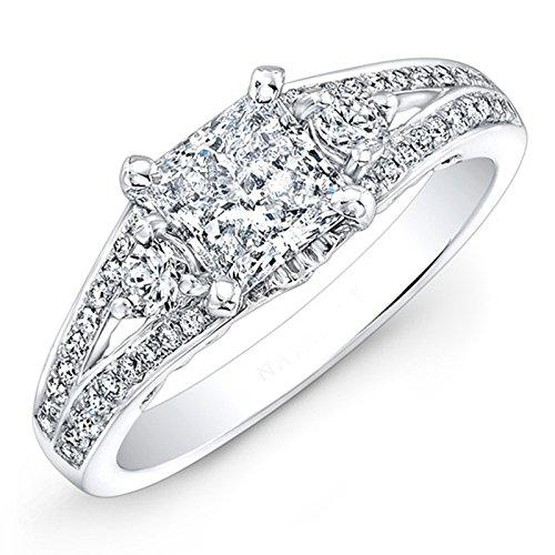 1.16 Ct Round Moissanite Diamond Engagement Ring Sterling Silver White Gold Finish Size M N O P Q