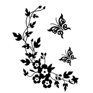 Wallpaper Black Butterfly Flower Wall Stickers Decal Home Decoration Removable Mural DIY Decor