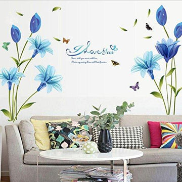 Wall Sticker, Chshe Blue Lilies Flowers Art Vinyl Wall Decals Stickers Home Decor for Living Room Bedroom TV Background Wall