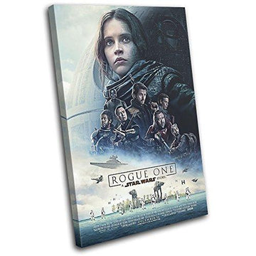 Bold Bloc Design - Star Wars Rogue One Poster Movie Greats 60x40cm SINGLE Canvas Art Print Box Framed Picture Wall Hanging - Hand Made In The UK - Framed And Ready To Hang