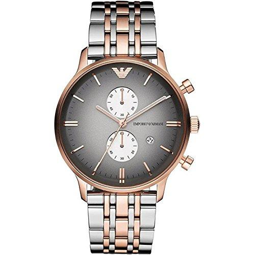 Men's Emporio Armani Watch AR1721 – Rose Gold and Silver Steel