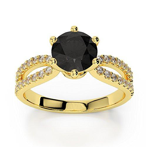 18Kt Yellow Gold 1.25 Ct H-I Certified Round Cut Black Diamond Engagement Ring AGDR-1223