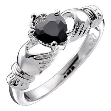 GWG® Sterling Silver Claddagh Love Ring for Women with Black Heart CZ Stone, Hands, and Crown – 9