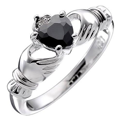 Sterling Silver Claddagh Love Ring for Women with Black Heart CZ Stone, Hands, and Crown