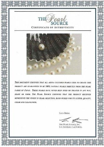 14K Gold 7.0-7.5mm Japanese Akoya White Cultured Pearl Necklace - AAA Quality, 18