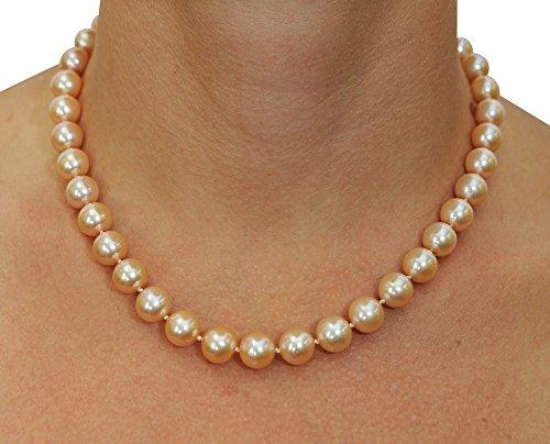 17 Inch Princess Length 10-11mm Peach Freshwater Cultured Pearl Necklace AAA