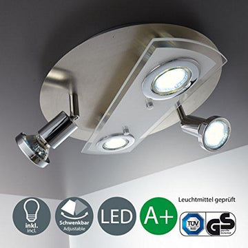 Modern Round LED Ceiling Light with 4 x 3 Watt 4 x 250 Lumen 3000 Kelvin, Warm White [Energy Class A+] IP 20 rated