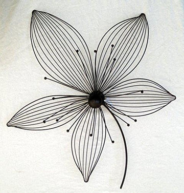 Wall Decoration Art 'Lilly' Flowers, Metal, Black/Brown, 64 x 57 cm