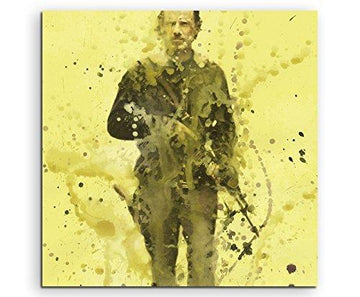 The Walking Dead _ Rick _ IIII _ Paul Sinus Watercolour Painting Splash Art, Art Picture on Canvas 60 x 60 cm