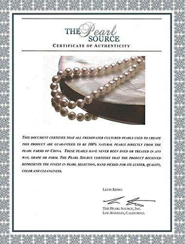 14K Gold 7-8mm White Freshwater Cultured Pearl Necklace - AAAA Quality, 17 Inch Princess Length