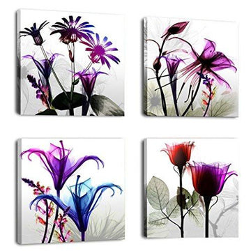 CUNFUN Art – 4 Panels Huge Modern Giclee Prints Artwork Multi Flowers Pictures Photo Paintings Print on Canvas Wall Art for Home Walls Decor Stretched and Framed Ready to Hang (30cm x 30cm x 4pcs)