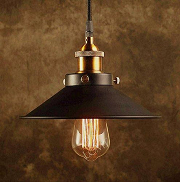 Modern Black Metal Shade Ceiling Light With A Bronze Vintage Lamp Holder, A Unique Industrial Pendant Light, Create The Perfect Atmosphere For Bar Restaurant Coffee Shop And Home Use With Our Hanging Light Fixture, Diameter 21cm