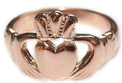 FREE ENGRAVING (LOVE, LOYALTY, FRIENDSHIP) Rose Gold Over Stainless Steel. Celtic Claddagh Ring. Stamped 316. Beautifully Set Traditional Design. 4GR Total Weight. Outstanding Quality Finish.