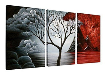 Wieco Art - The Cloud Tree Large 3 Panels Modern Stretched and Framed Giclee Canvas Prints Abstract Seascape Paintings Reproduction Sea Beach Pictures on Canvas Wall Art for Bedroom Home Decorations