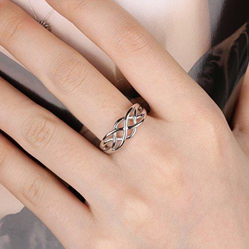 GULICX 925 Sterling Silver Ring Celtic Everlasting Love Knot Filigree Wedding Finger Ring Size J 1/2, K, L 1/2, M, N 1/2, O, P 1/2, Q, R, S, T 1/2, U, V 1/2, W