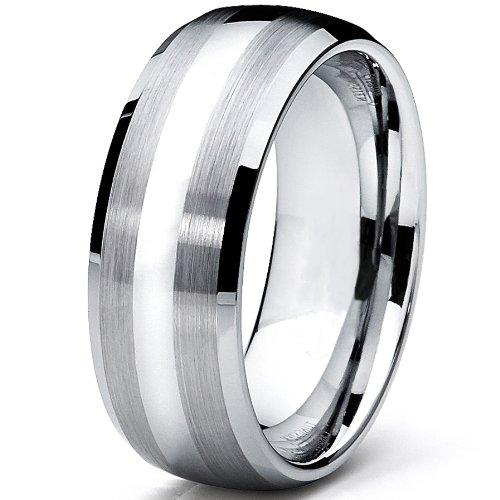 8MM Dome Men's Tungsten Carbide Ring Wedding Band Size Q