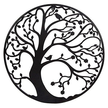 Large 58cm Black Metal Tree Circle Wall Art Sculpture for Garden or Home